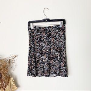 Black, Pink, Blue Floral Circle Skirt | Small